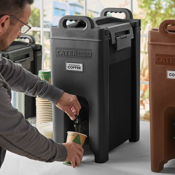 CaterGator 5 Gallon Black Insulated Beverage Dispenser Main Image 2
