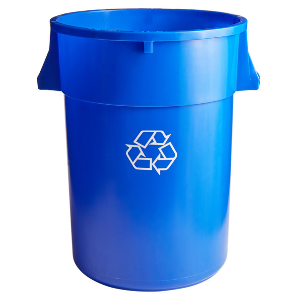 Continental 4444-1 Huskee 44 Gallon Blue Round Recycling Bin