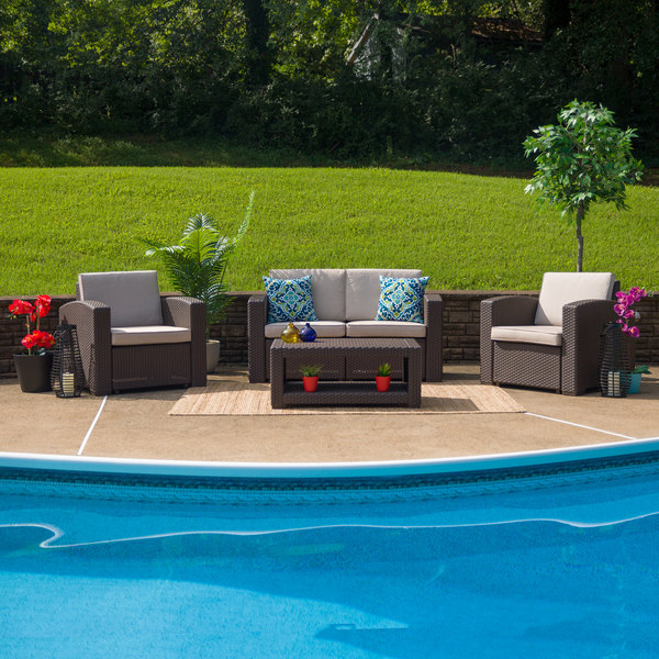 Flash Furniture DAD-SF-112T-CBN-GG 4-Piece Chocolate Brown Faux Rattan Patio Set with 2 Chairs, Loveseat, and Table Main Image 2