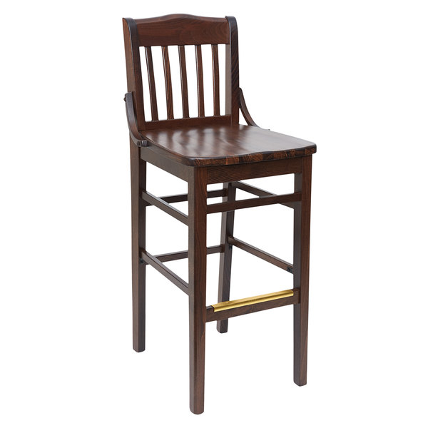 BFM Seating ZWB302DW-DW Cornell Dark Walnut Beechwood Bar Height Chair Main Image 1