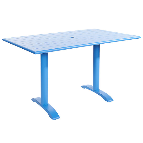 "BFM Seating PHB3248BYU-0022BYT Bali-Beachcomber 32"" x 48"" Berry Powder Coated Aluminum Bar Height Outdoor / Indoor Table with Cross Base and Umbrella Hole Main Image 1"