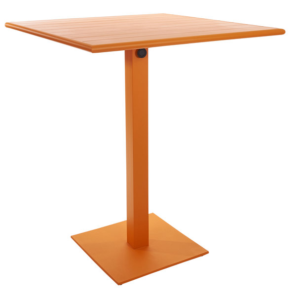 """BFM Seating PHB2432CT-18SQCTT Beachcomber-Margate 24"""" x 32"""" Citrus Aluminum Bar Height Outdoor / Indoor Table with Square Base Main Image 1"""