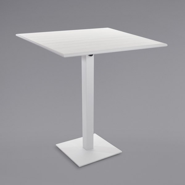 "BFM Seating PHB2432WH-18SQWHT Beachcomber-Margate 24"" x 32"" White Aluminum Bar Height Outdoor / Indoor Table with Square Base Main Image 1"