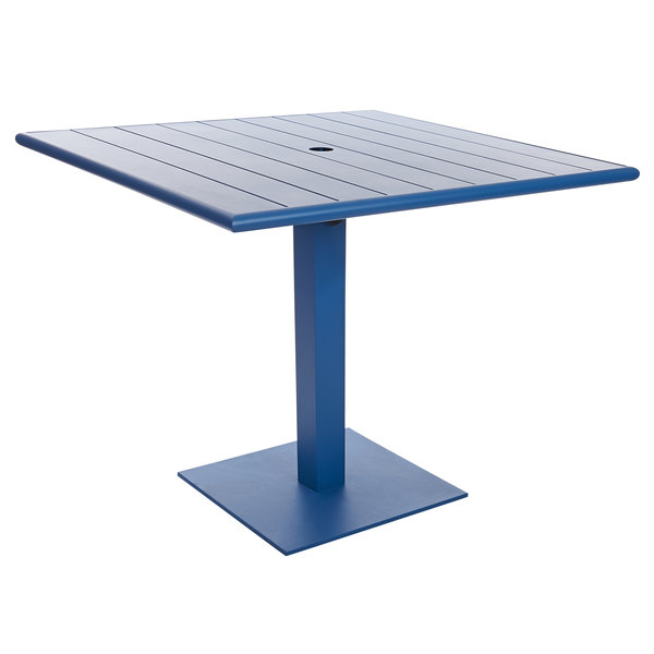 """BFM Seating PHB3636BYU-20SQBYU Beachcomber-Margate 36"""" Square Berry Aluminum Dining Height Outdoor / Indoor Table with Square Base and Umbrella Hole Main Image 1"""