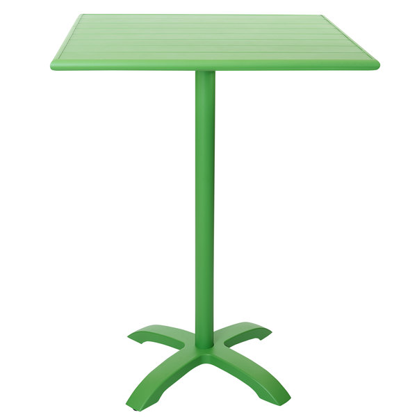 """BFM Seating PHB3232LM-2626LMT Bali-Beachcomber 32"""" Square Lime Powder Coated Aluminum Bar Height Outdoor / Indoor Table Main Image 1"""