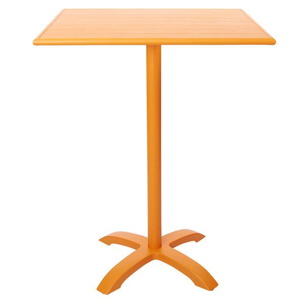 "BFM Seating PHB2432CT-2626CTT Beachcomber-Bali 24"" x 32"" Citrus Powder Coated Aluminum Bar Height Outdoor / Indoor Table Main Image 1"