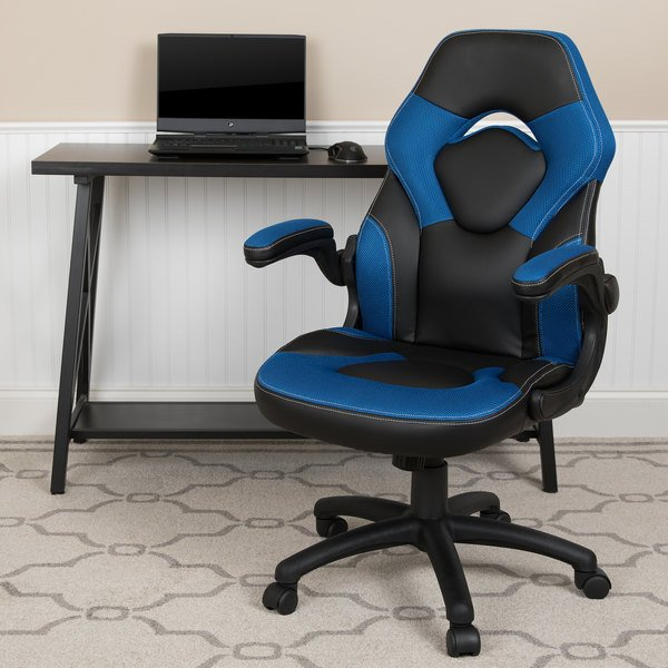 Astounding Flash Furniture Ch 00095 Bl Gg High Back Blue Leathersoft Swivel Office Chair Video Game Chair With Flip Up Arms Onthecornerstone Fun Painted Chair Ideas Images Onthecornerstoneorg
