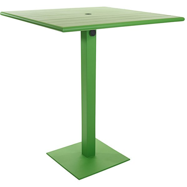 "BFM Seating PHB3636LMU-20SQLMTU Beachcomber-Margate 36"" Square Lime Aluminum Bar Height Outdoor / Indoor Table with Square Base and Umbrella Hole Main Image 1"