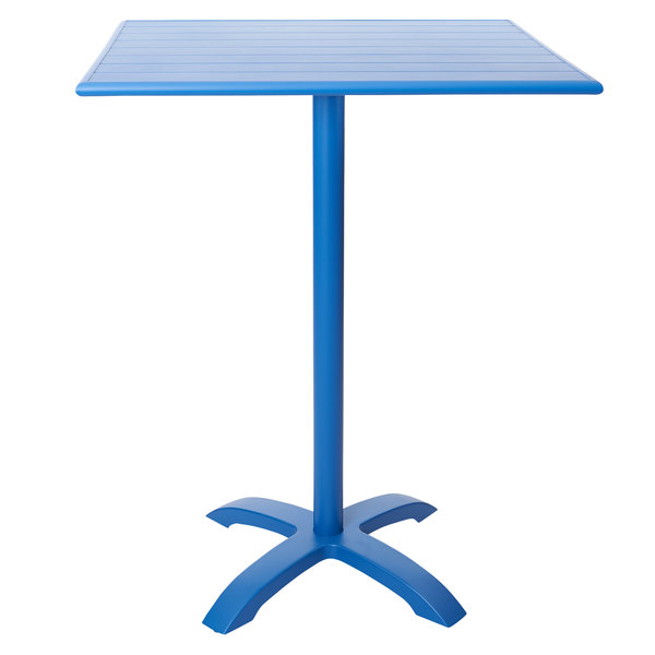 """BFM Seating PHB2432BY-2626BYT Beachcomber-Bali 24"""" x 32"""" Berry Powder Coated Aluminum Bar Height Outdoor / Indoor Table Main Image 1"""
