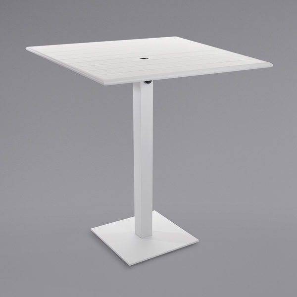 """BFM Seating PHB3636WHU-20SQWHTU Beachcomber-Margate 36"""" Square White Aluminum Bar Height Outdoor / Indoor Table with Square Base and Umbrella Hole Main Image 1"""
