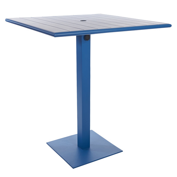 """BFM Seating PHB3232BYU-18SQBYTU Beachcomber-Margate 32"""" Square Berry Aluminum Bar Height Outdoor / Indoor Table with Square Base and Umbrella Hole Main Image 1"""