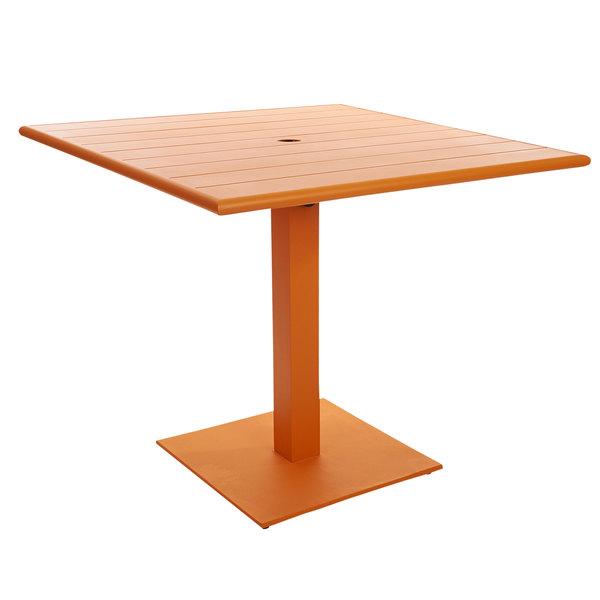 "BFM Seating PHB3636CTU-20SQCTU Beachcomber-Margate 36"" Square Citrus Aluminum Dining Height Outdoor / Indoor Table with Square Base and Umbrella Hole Main Image 1"