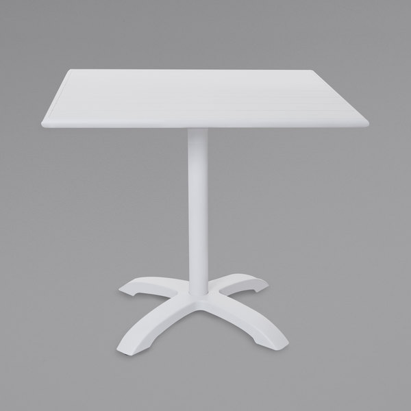 """BFM Seating PHB2432WH-2626WH Beachcomber-Bali 24"""" x 32"""" White Powder Coated Aluminum Dining Height Outdoor / Indoor Table Main Image 1"""