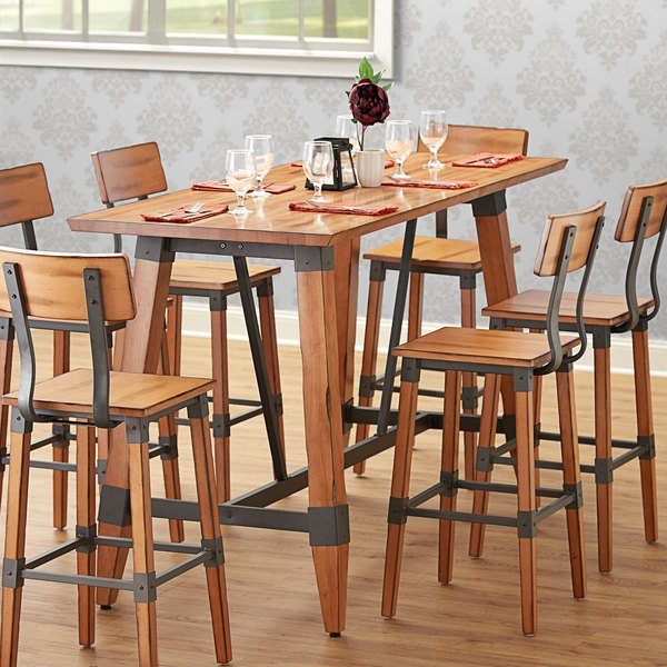 Lancaster Table Seating Antique Natural Rustic Industrial Wooden Bar Height Trestle Table Base For 30 X 72 Table Tops