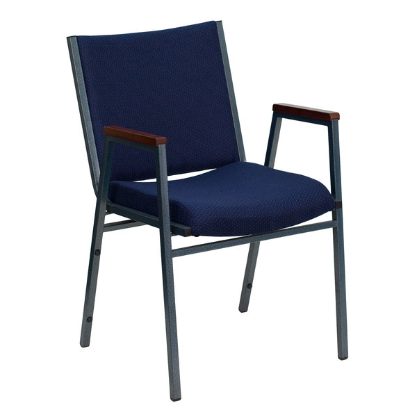 Flash Furniture XU-60154-NVY-GG Hercules Heavy Duty Navy Blue Dot Fabric Stack Chair with Arms Main Image 1