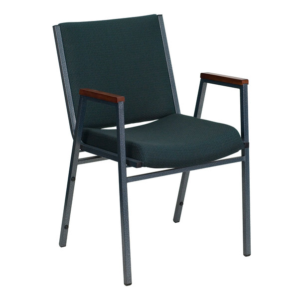 Flash Furniture XU-60154-GN-GG Hercules Heavy Duty Green Patterned Fabric Stack Chair with Arms