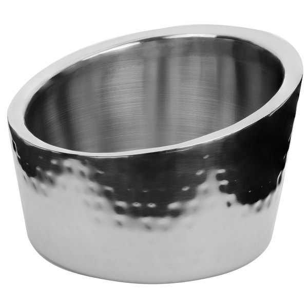 "Walco VMA600 Ironstone 6"" x 4"" Stainless Steel Angled Bowl Main Image 1"