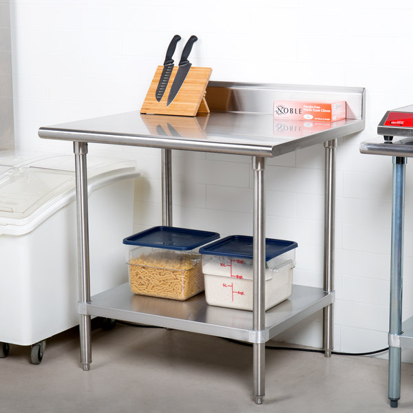 """Advance Tabco KSS-303 30"""" x 36"""" 14 Gauge Work Table with Stainless Steel Undershelf and 5"""" Backsplash"""