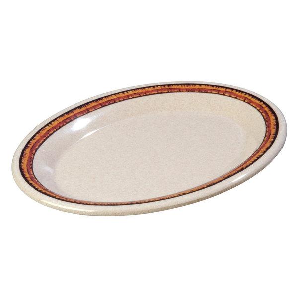 "Carlisle 43087908 Mosaic Durus 9 1/2"" Sierra Sand on Sand Oval Melamine Platter - 24/Case"