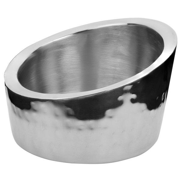 "Walco VMA475 Ironstone 4 3/4"" x 3 1/4"" Stainless Steel Angled Bowl Main Image 1"