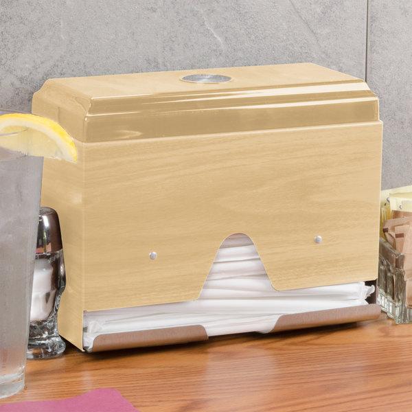 Vollrath 3815-29 Straw Boss Single Sided Wrapped Straw Dispenser - Light Oak Woodgrain