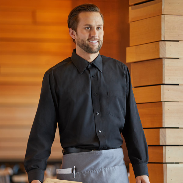 Henry Segal Men's Customizable Black Long Sleeve Dress Shirt - S Main Image 1