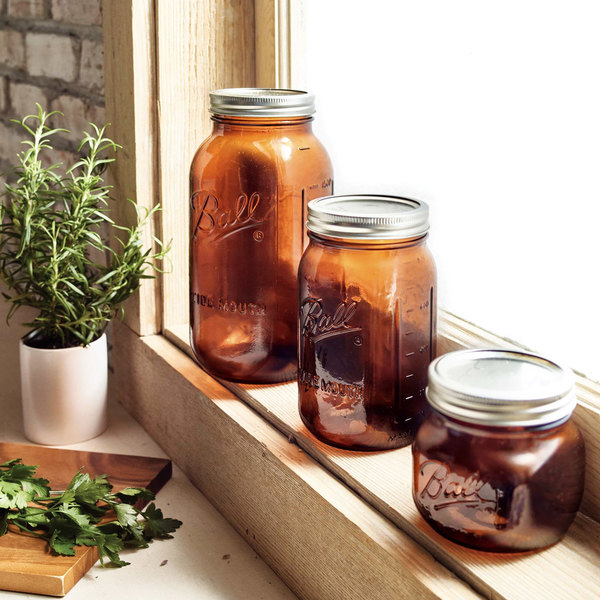 Pack of 2 Half Gal Size Anti UV Ball Wide Mouth Amber Glass Mason Canning Jars