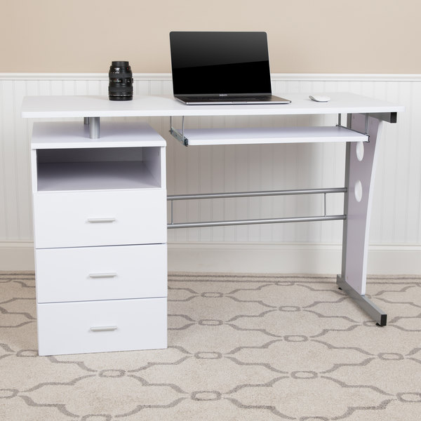 Flash Furniture White Computer Desk, Flash Furniture Black Glass Computer Desk With 3 Drawer Pedestal
