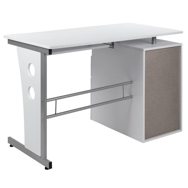 Flash Furniture Nan Wk 008 Wh Gg 47 1 4, Flash Furniture Computer Desk With 3 Drawer Pedestal