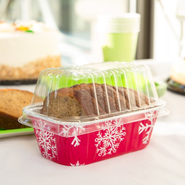 Durable Packaging 9302X 1 lb. Holiday Bread Loaf Pan with Clear Dome Lid - 100/Case