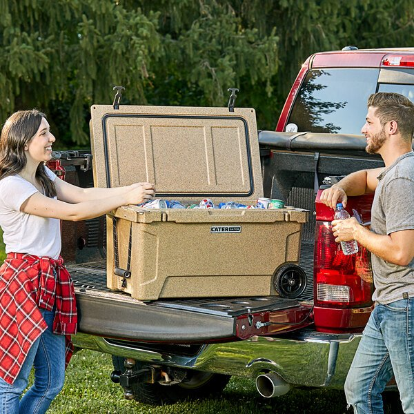 CaterGator CG65SPBW Beige 65 Qt. Mobile Rotomolded Extreme Outdoor Cooler / Ice Chest Main Image 5