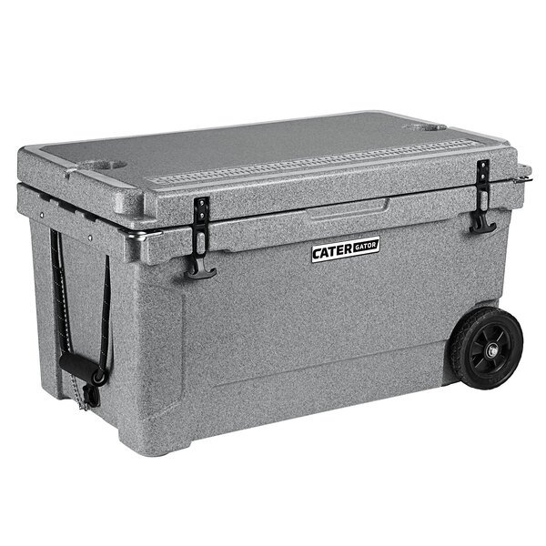 CaterGator CG65SPGW Gray 65 Qt. Mobile Rotomolded Extreme Outdoor Cooler / Ice Chest Main Image 1
