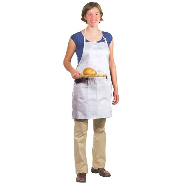 "Chef Revival 601BAO-3-WH Customizable Professional Gourmet Full-Length White Bib Apron - 30""L x 28""W"