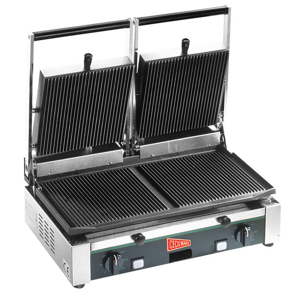 """Cecilware TSG-2G Double Panini Sandwich Grill with Grooved Surfaces - 19 3/4"""" x 10"""" Cooking Surface - 240V, 1700W"""