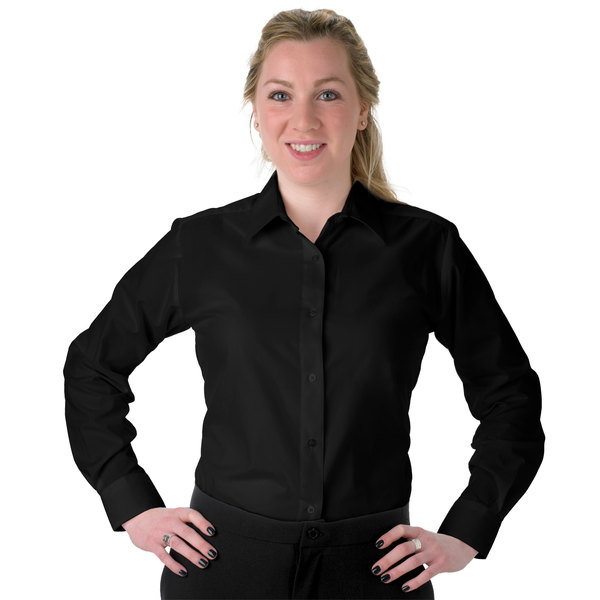 Henry Segal Women's Customizable Black Long Sleeve Dress Shirt - L Main Image 1