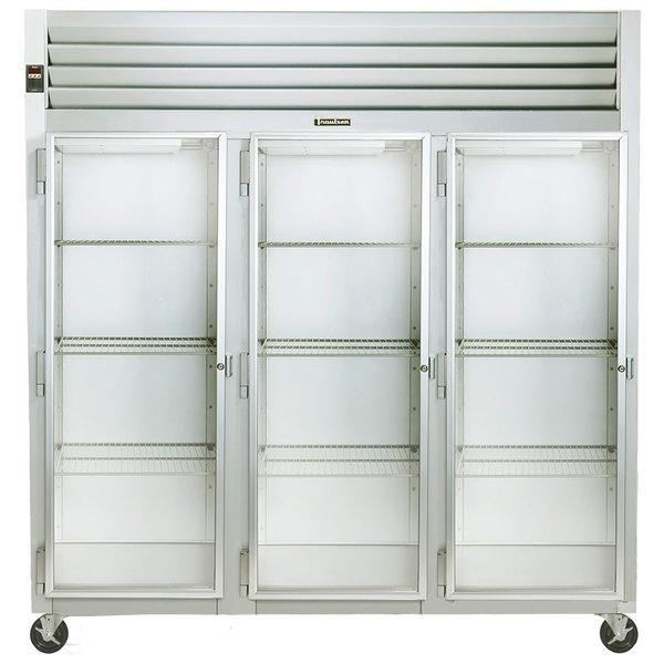 Traulsen G32013 3 Section Glass Door Reach In Refrigerator - Left Hinged Doors Main Image 1