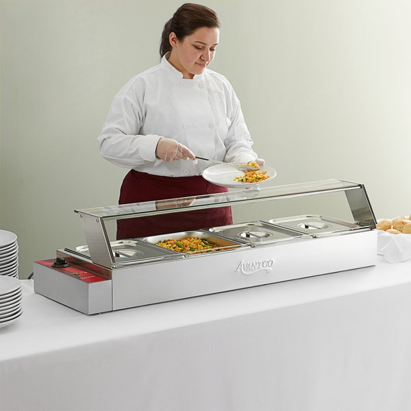 "Avantco BMFW4 46"" Electric Bain Marie Buffet Countertop Food Warmer with 4 Half Size Wells - 1500W, 120V Main Image 5"