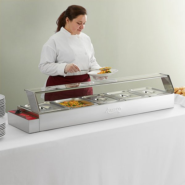 "Avantco BMFW5 57"" Electric Bain Marie Buffet Countertop Food Warmer with 5 Half Size Wells - 1500W, 120V"