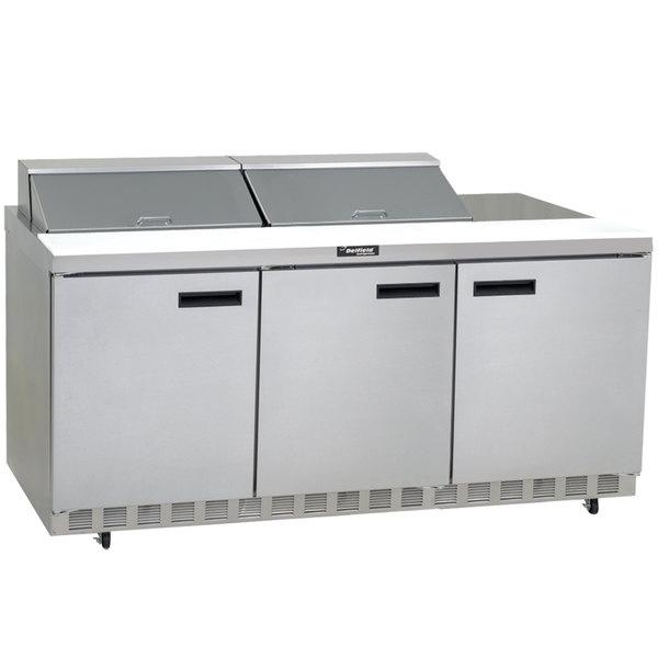 "Delfield 4472N-24M 72"" 3 Door Mega Top Refrigerated Sandwich Prep Table"