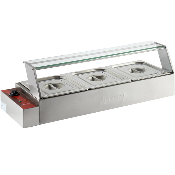 "36/"" Electric Bain Marie Buffet Countertop Food Warmer with 3 Half Size Wells"
