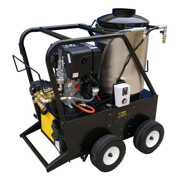 Cam Spray 25006QD Portable Diesel Hot Water Pressure Washer with 50' Hose - 2500 PSI; 3 GPM Main Image 1