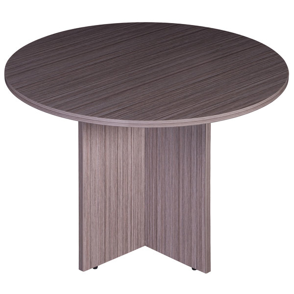 """Boss N123-DW Driftwood Laminate 47"""" Round Office Table Main Image 1"""