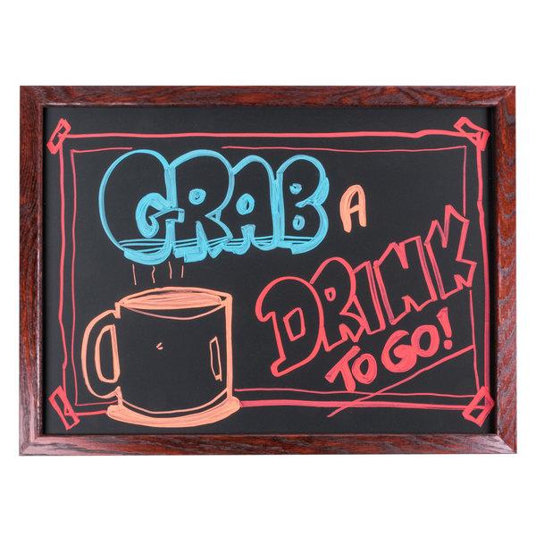 "Aarco OC1824NT-B MAHOG/BOXD 18"" x 24"" Mahogany Frame Black Chalk Board"
