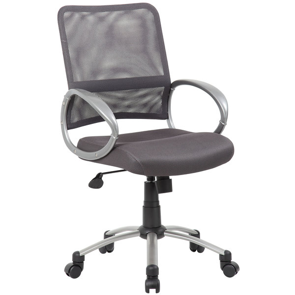 Boss B6416-CG Charcoal Grey Mesh Task Chair with Pewter Finish and Casters Main Image 1