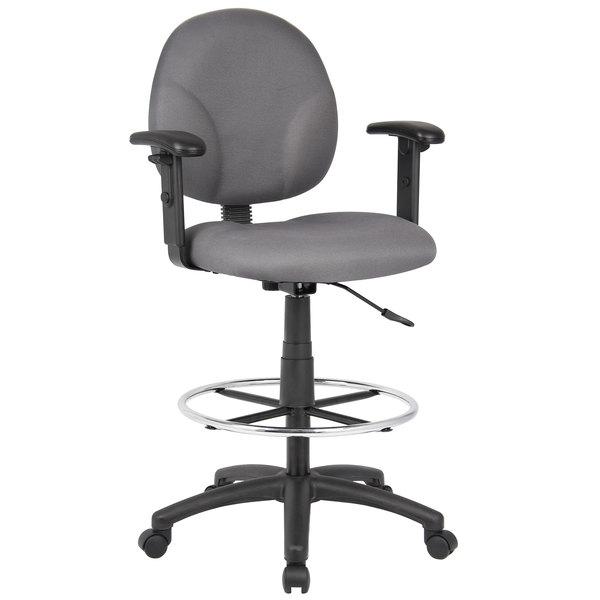 Astounding Boss B1691 Gy Gray Fabric Drafting Stool With Adjustable Arms And Footring Creativecarmelina Interior Chair Design Creativecarmelinacom