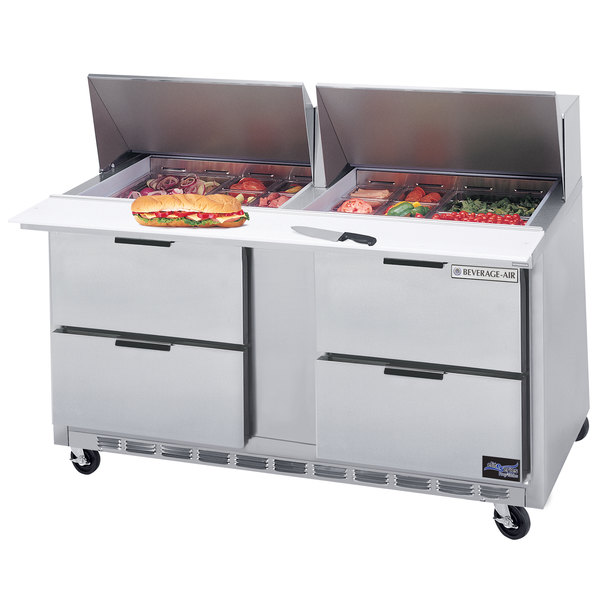 "Beverage Air SPED60HC-18M-4 60"" 4 Drawer Mega Top Refrigerated Sandwich Prep Table"