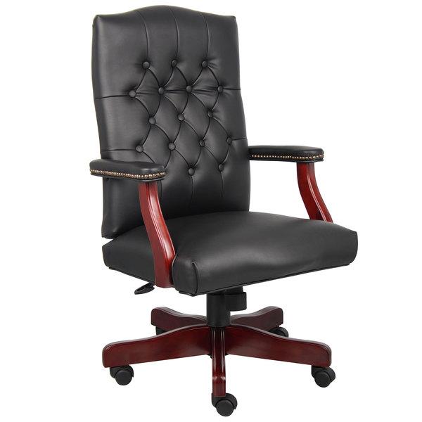 Boss B905-BK Black Caressoft Classic Chair with Mahogany Finish Main Image 1