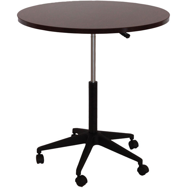 "Boss N30-M Mahogany Laminate 32"" Round Mobile Office Table"