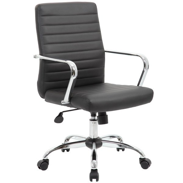 Boss B436C-CP Black Retro Task Chair with Chrome Fixed Arms
