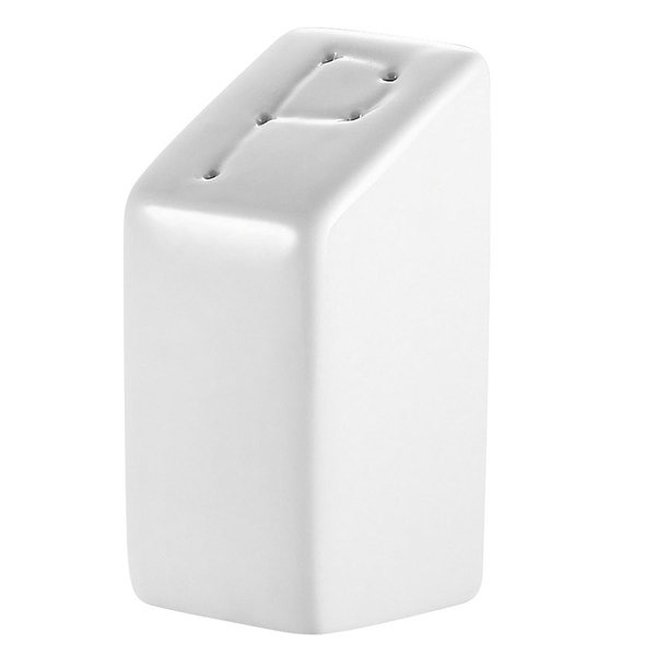 Bright White Square China Pepper Shaker - 48/Case